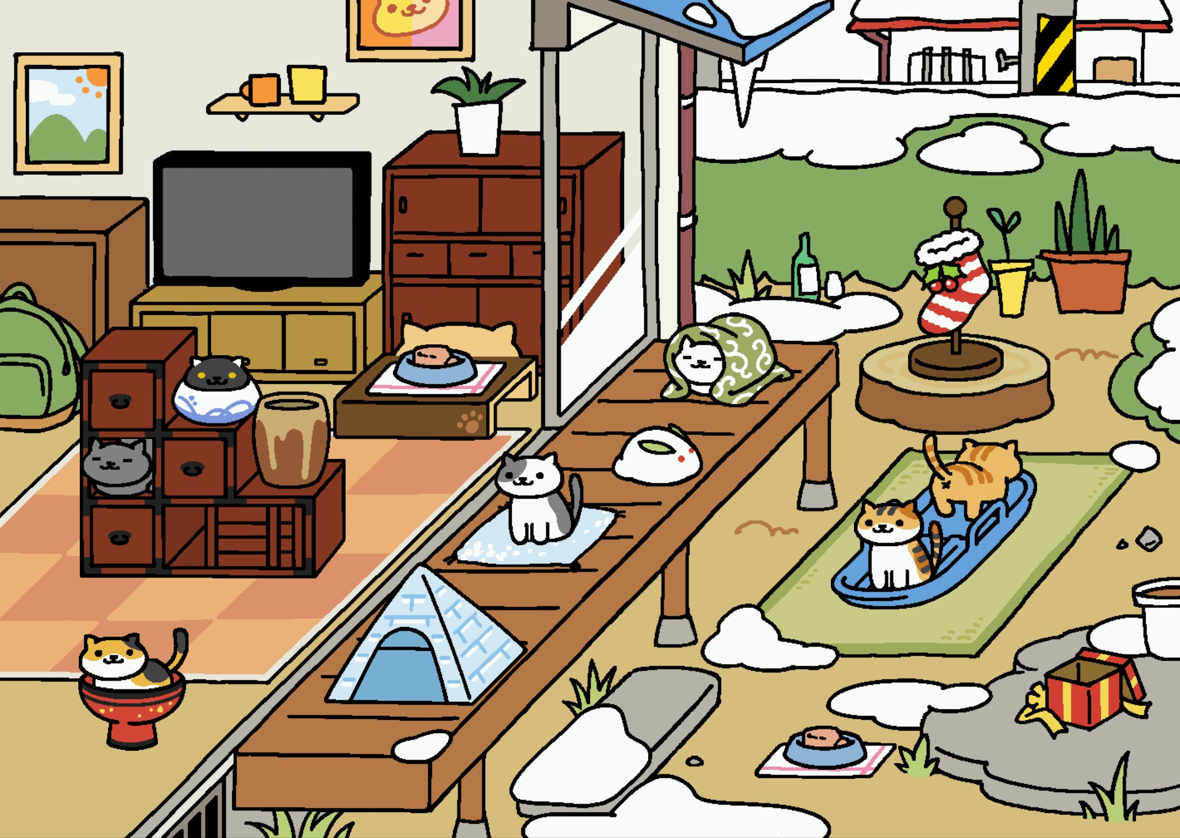 ねこあつめの雪景色画像!